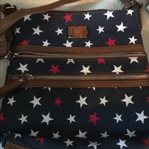 Style & Co Crossbody.  Red, white, and blue print.